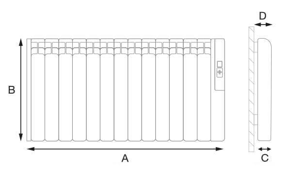 Rointe kyros 7 elements electric radiator electric pro for Radiador dwg